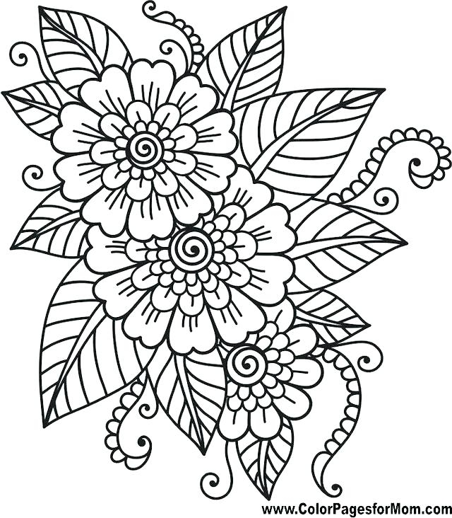 640x732 Flower Pattern Coloring Pages Endearing Flower Pattern Coloring