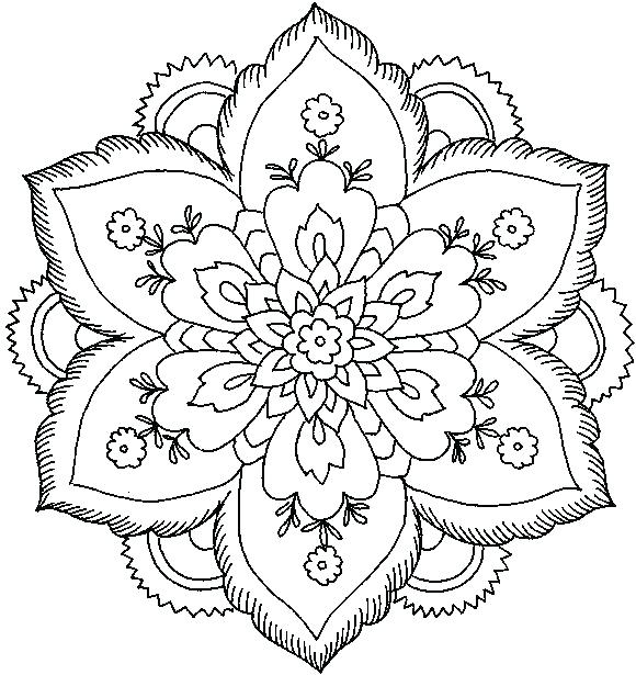 580x615 Flower Pattern Coloring Pages Printable Coloring Black White