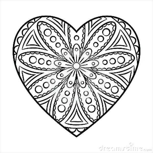 600x600 Coloring Design Pages Heart Shape Coloring Page Flower Pattern