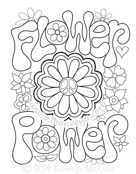 469x600 Flower Power Coloring Page