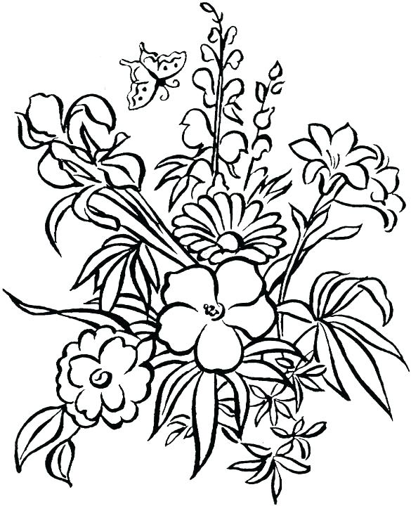 585x720 A Flower Coloring Page Coloring Pages Of Flowers Simply Simple