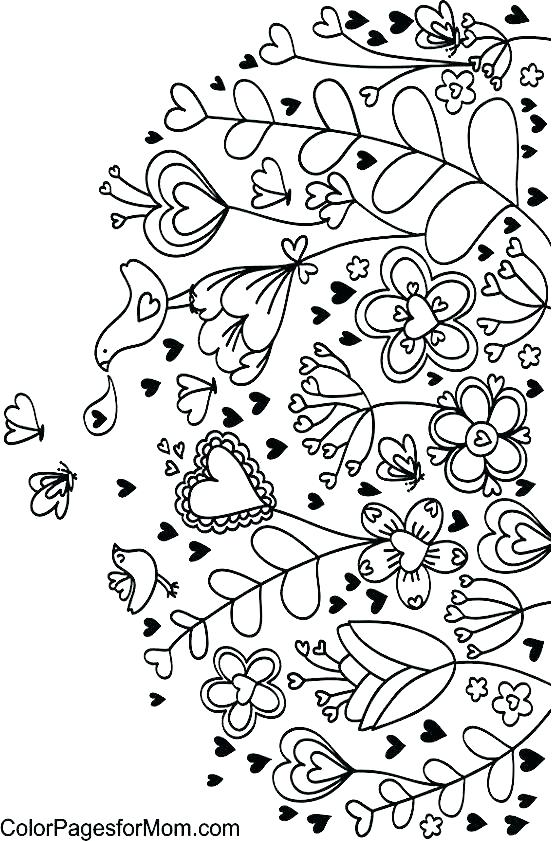 552x841 Coloring Pages Roses And Hearts Delightful Heart Coloring Page