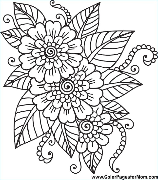 640x732 Easy Printable Flower Coloring Pages