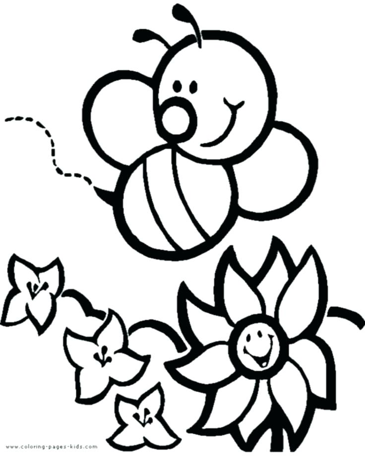 736x920 Flowering Coloring Pages Flower Print Out Coloring Pages Bee