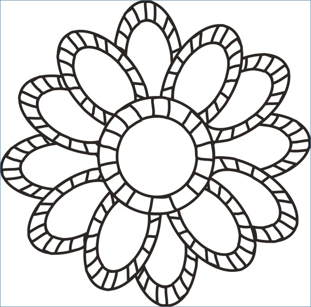 640x631 Big Flower Coloring Pages