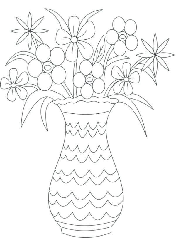 600x810 Coloring Pictures Of Flowers In A Vase Flower Vase Decorated