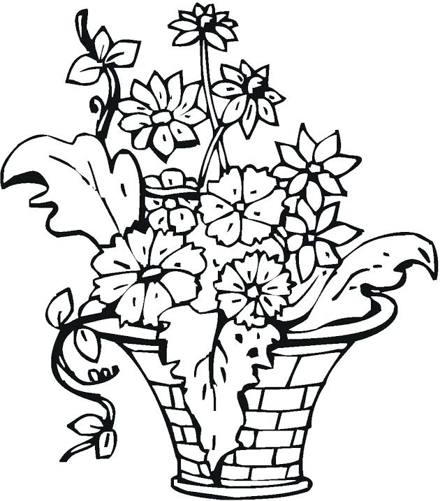 630x717 Flower Vase Coloring Page Best Photos Of Vase Pattern Color Page