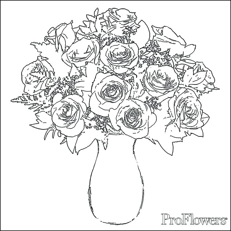 800x800 Flower Vase Coloring Page Printable Roses Coloring Pages
