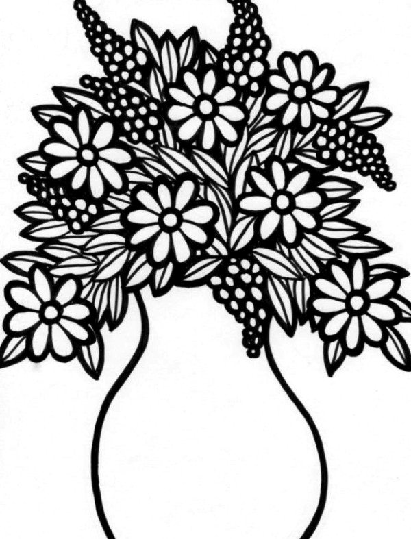 600x787 Flower Vase Coloring Pages