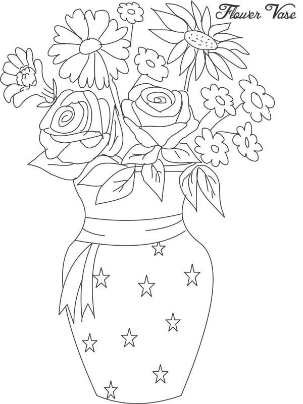 600x801 Flower In Vase From Beautiful Flower Bouquet Coloring Page Color