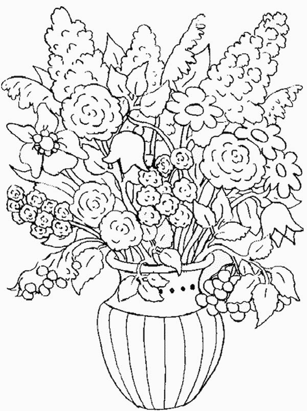 600x803 Flower In The Vase Of Nature Coloring Page Color Luna