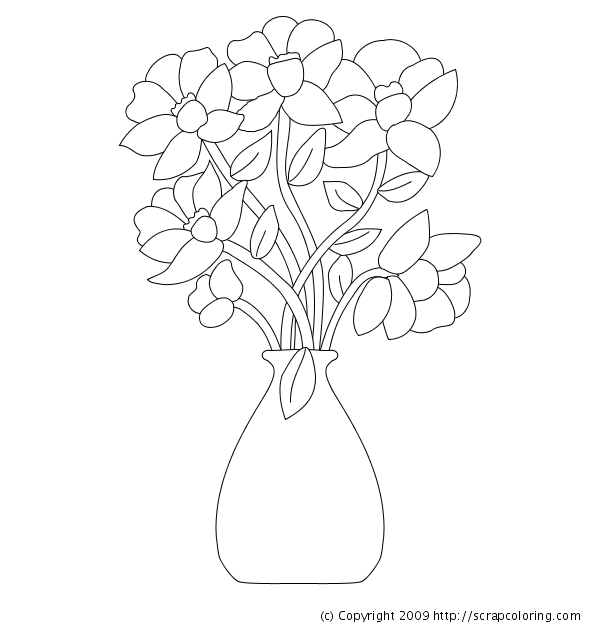 600x630 Flowers In Vase Coloring Page