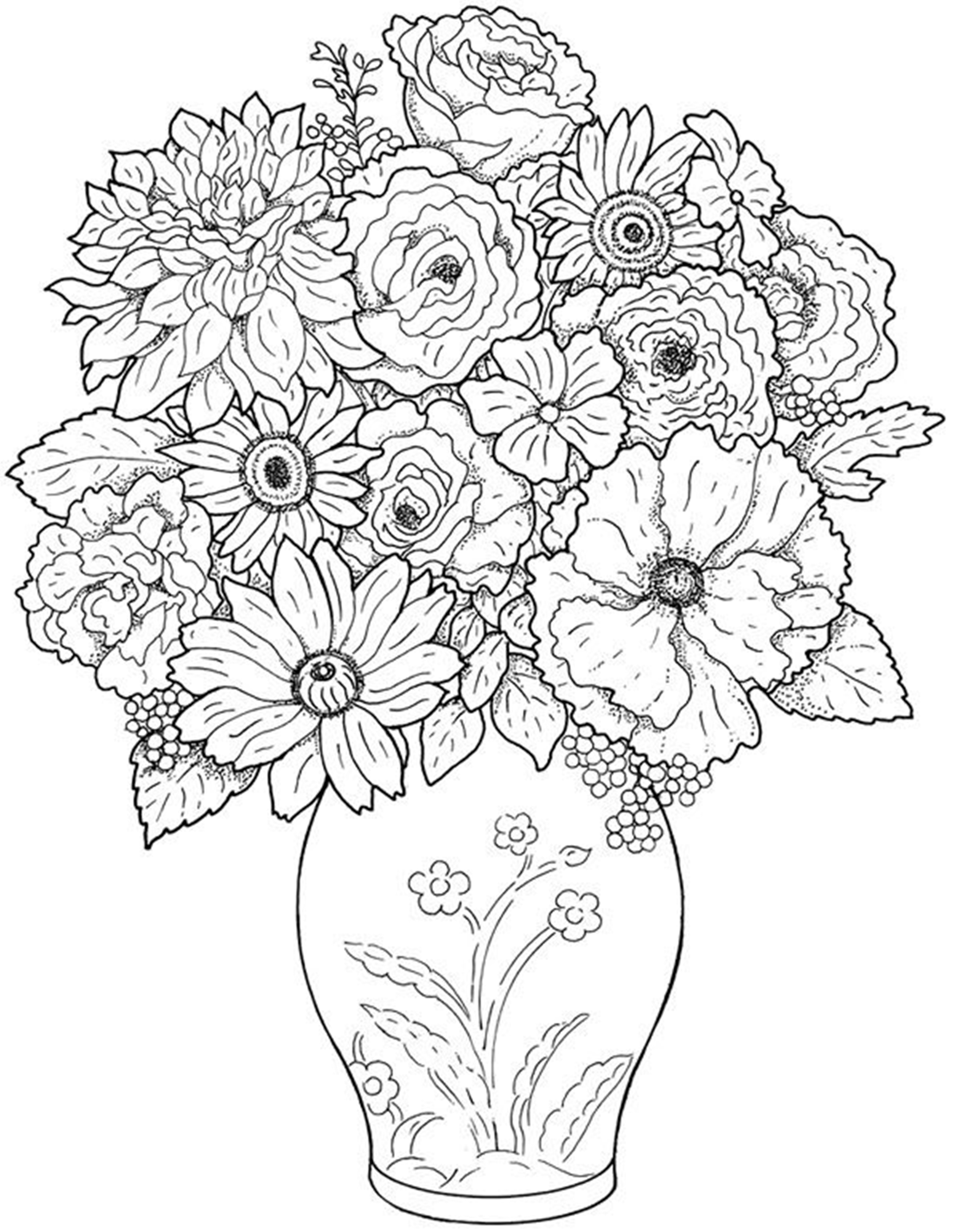 2149x2772 Inspiration Flower Vase Coloring Page