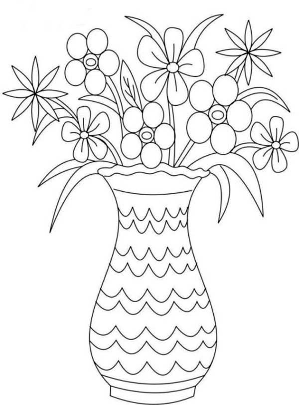 600x811 Picture Of Flower Bouquet In Vase Coloring Page Color Luna