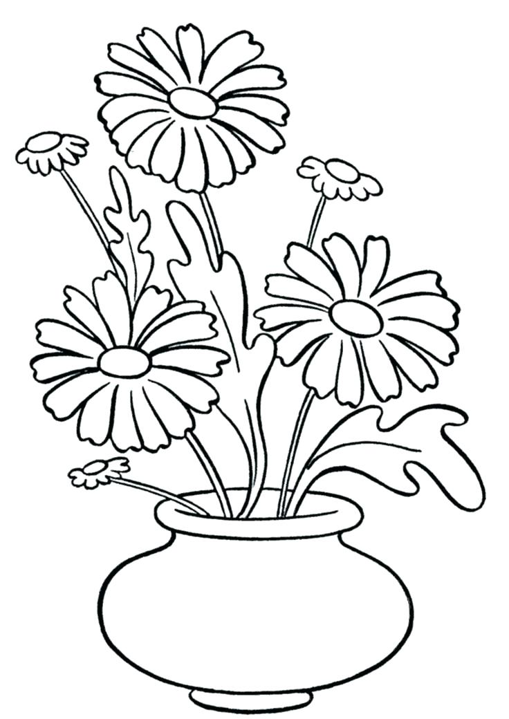 736x1040 Printable Flower Vase Coloring Pages Page Daisy In Sheets