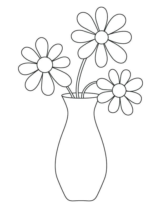 612x792 Printable Flower Vase Coloring Pages Page Download Free Fuhrer