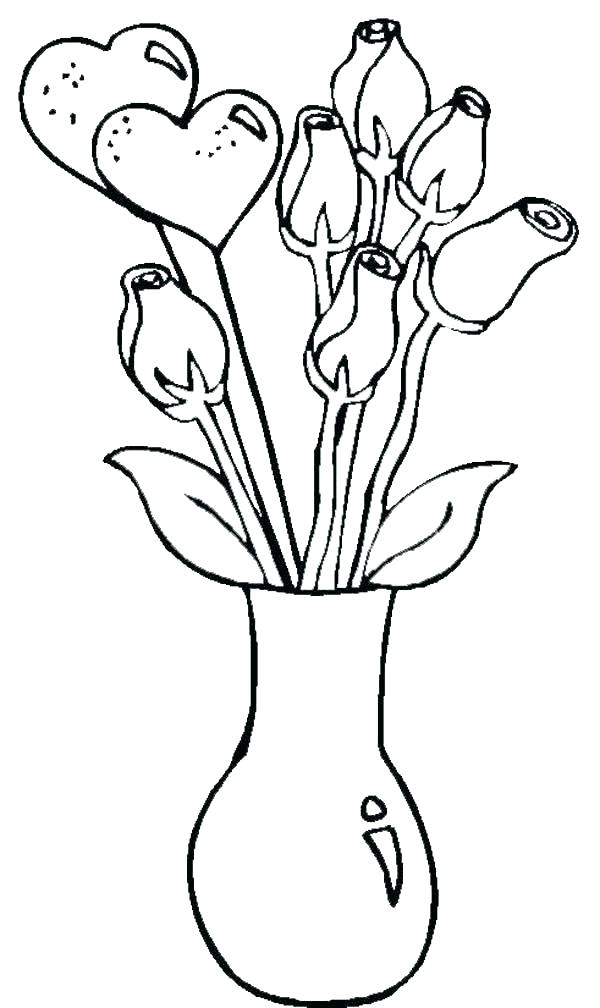 600x1008 Simple Coloring Book Pages Flower Vase Coloring Page Simple