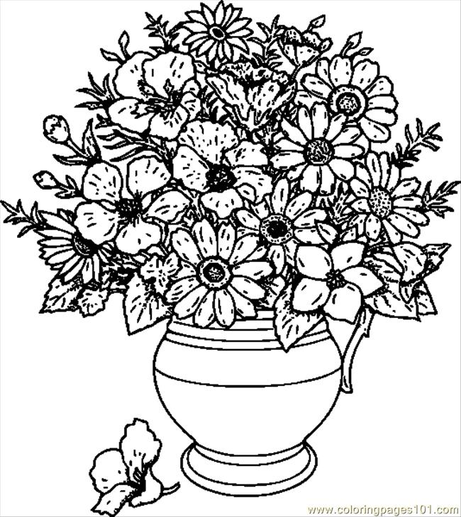 650x730 Vase Of Wild Flowers Hi Coloring Page