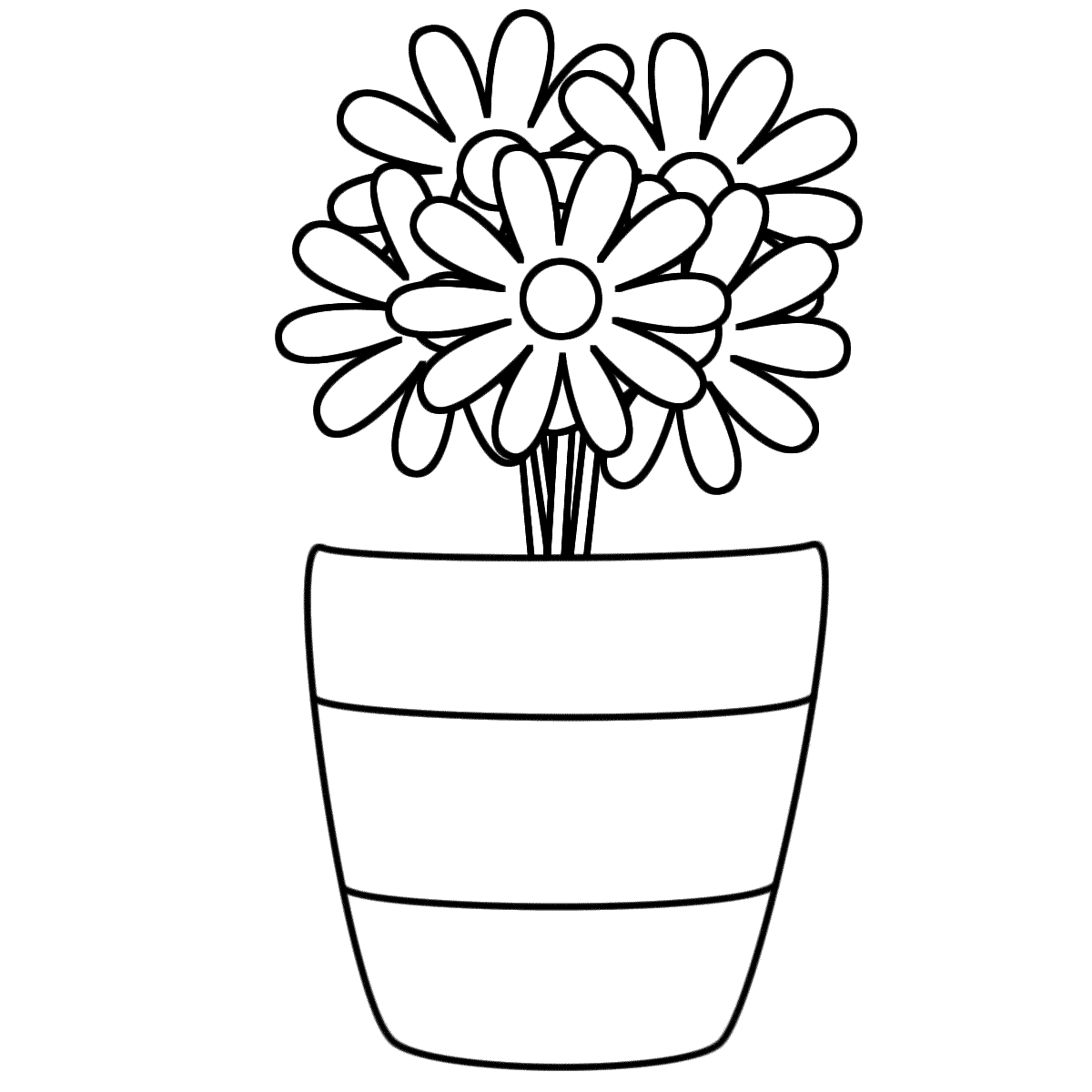 1200x1200 Vase With Flowers Coloring Page