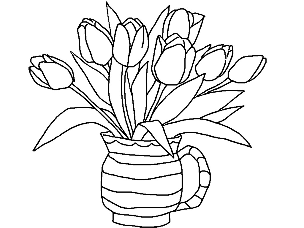 1024x768 Printable Flower Vase Coloring Pages Coloring Pages Of Tulips
