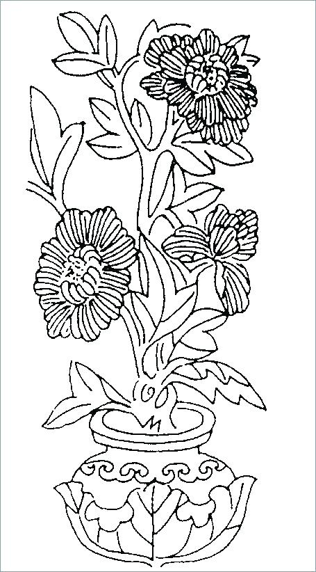 455x822 Coloring Pages Of Flowers For Adults Flower Vase Coloring Pages