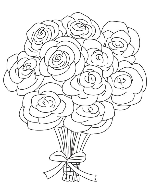 612x792 Bouquet Of Roses Coloring Pages Rose Bouquet Coloring Page