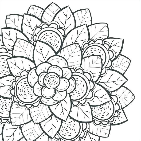 600x600 Flower Coloring Pages Pdf With Flower Coloring Pages For Adults