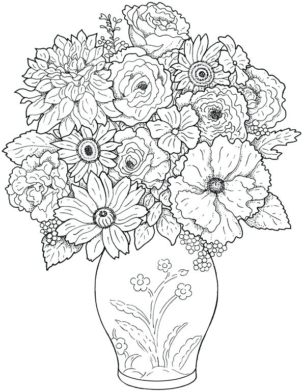 597x770 Adult Flower Coloring Pages Best Coloring Pages For Adults Free