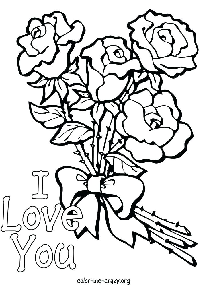 736x993 Flower Color Pages Coloring Pages Roses And Hearts Roses Coloring