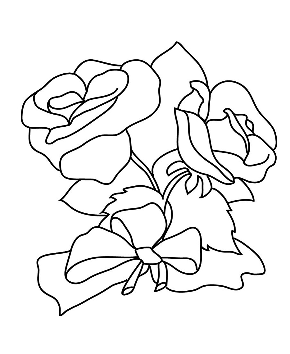 934x1140 Flower Coloring Pages And Rose Bouquet