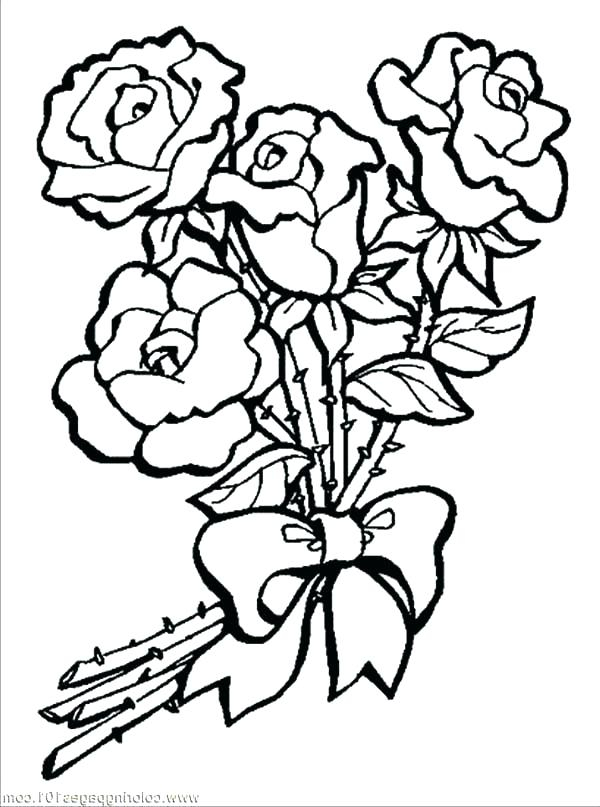 600x807 Coloring Pages Of Flowers Coloring Pages Rose Rose Flower Coloring