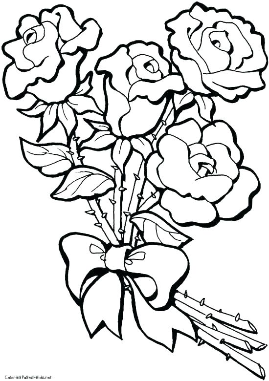 550x780 Coloring Pages Of Roses Easy Flower Coloring Pages Coloring Roses