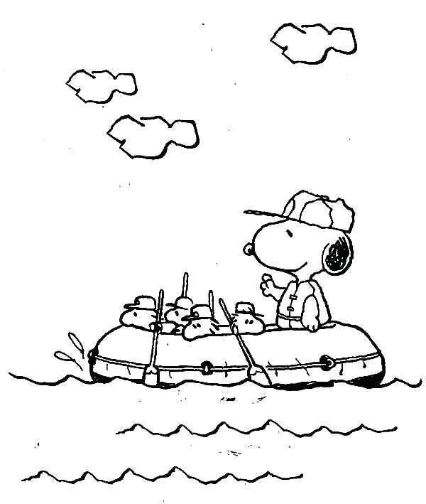 600x709 Flyers Coloring Pages Snoopy Snoopy Rafting With Gang Coloring