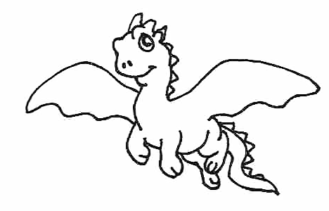 468x300 Picture Coloring Book Clipart Chinese Dragon Flying Black