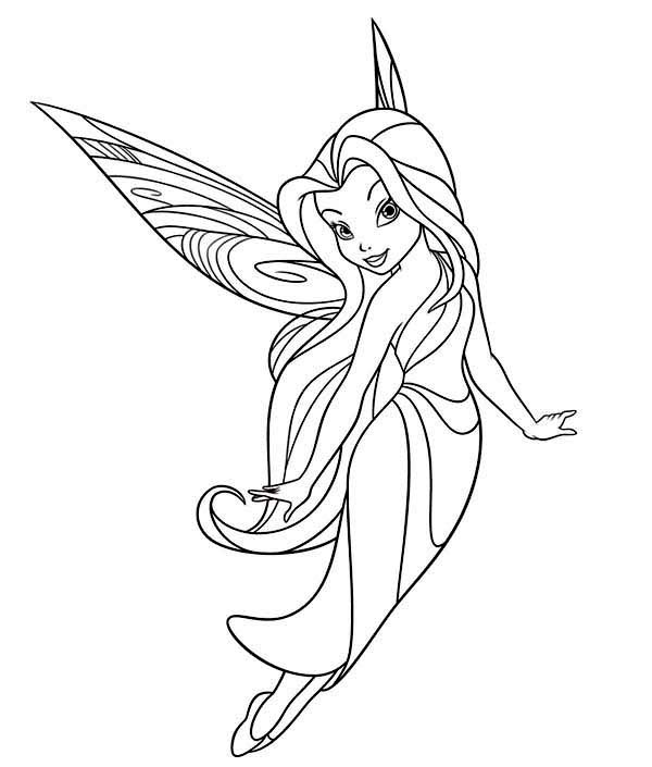 600x705 Silvermist Flying In Disney Fairies Coloring Page