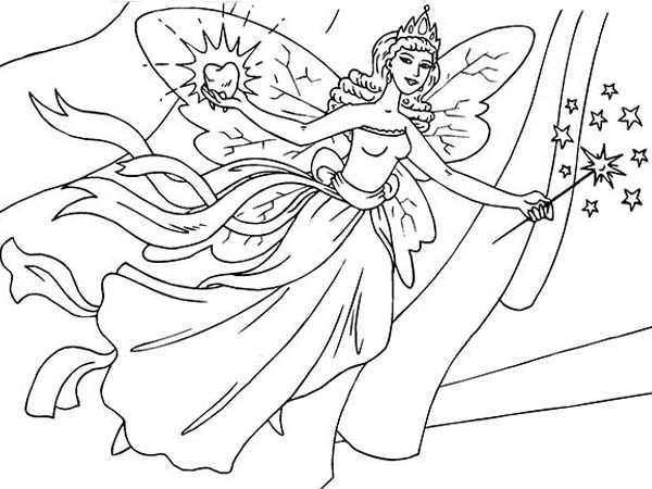 600x450 Tooth Fairy Flying Coloring Pages Batch Coloring