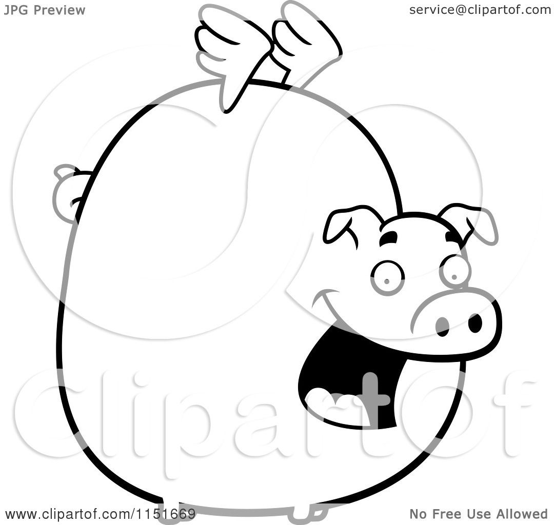 1080x1024 Cartoon Clipart Of A Black And White Fat Flying Pig With Little