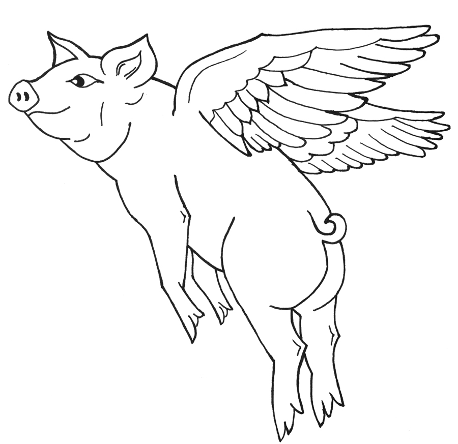 900x873 Colouring Pictures Of Pigs Flying Pig Coloring Pages Kids Coloring