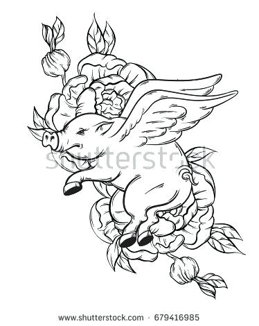 374x470 Flying Pig Coloring Pages Vector Hand Drawn Illustration Of Flying