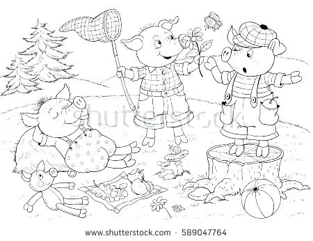 450x346 Three Little Pigs Coloring Pages Disney Flying Pig Sheet