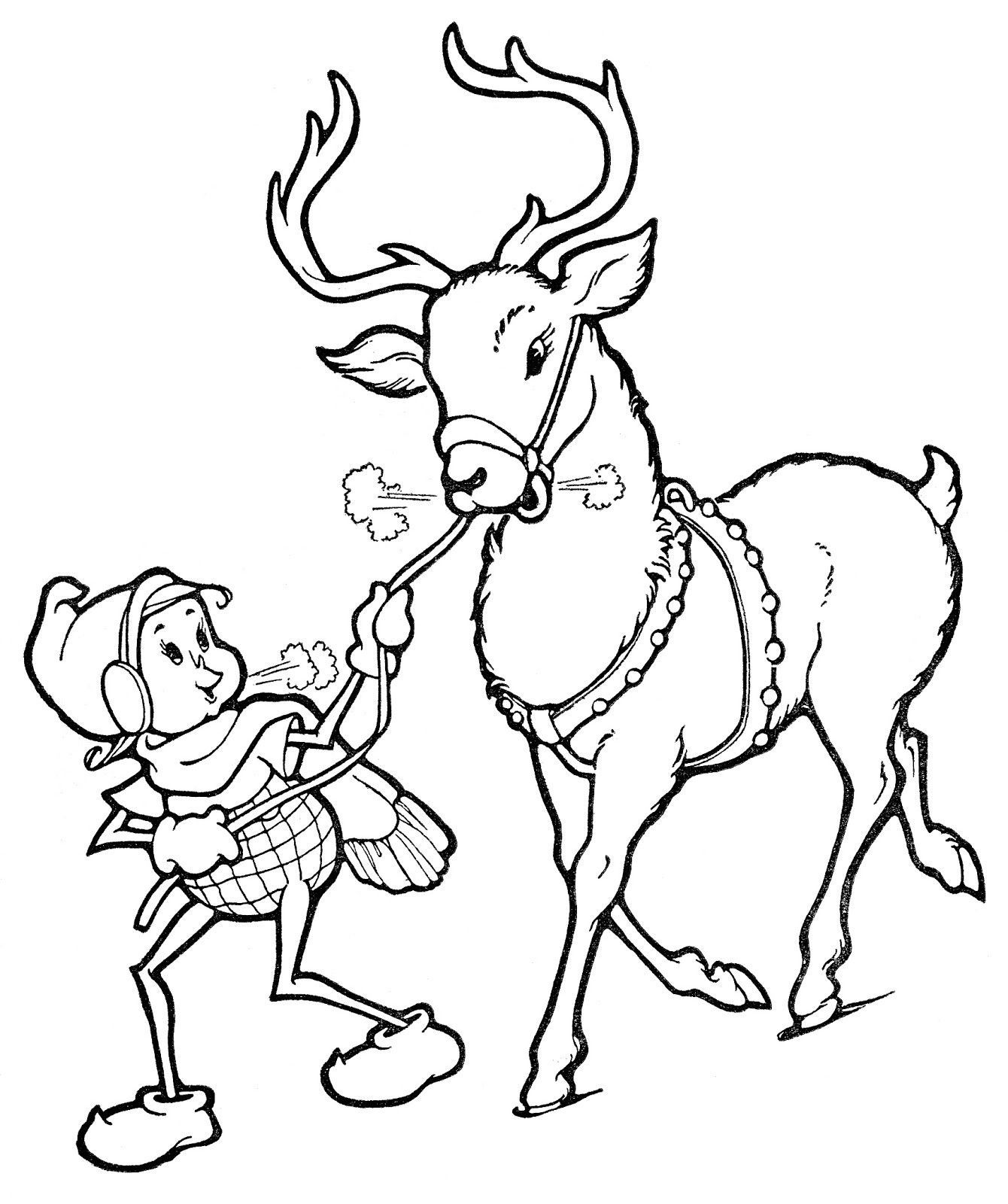 Flying Reindeer Coloring Pages