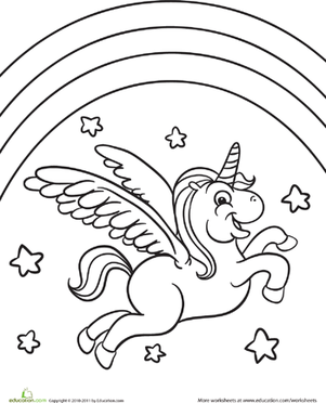 301x372 Color The Flying Unicorn Worksheet