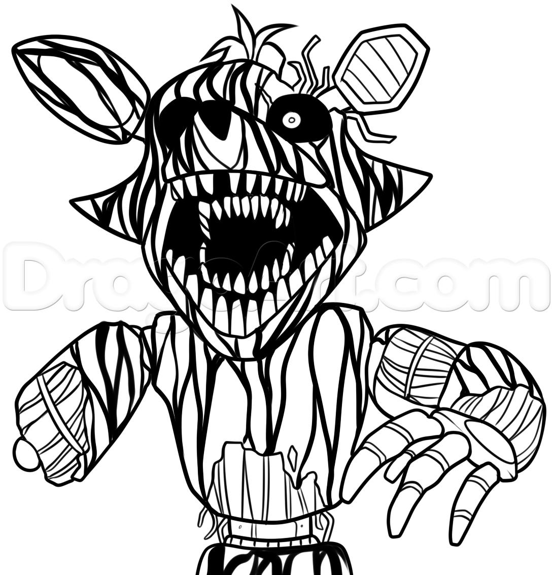 1090x1133 Cool How To Draw Phantom Foxy From Five Nights