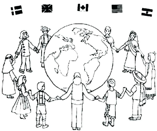 600x502 World Coloring Page World Coloring Pages Children Around The World