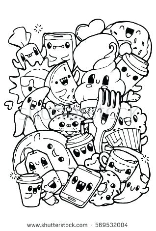 318x470 Doodling Coloring Pages Food Coloring Books Dining Doodles