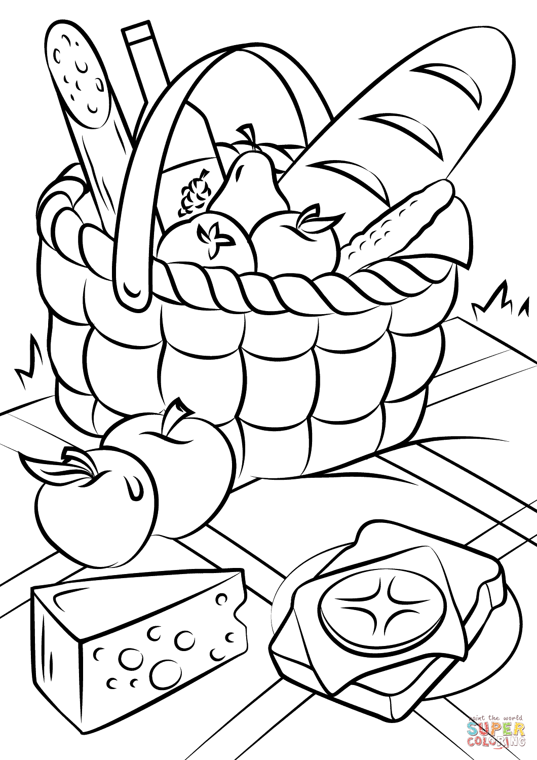 1060x1500 Picnic Basket Food Coloring Page Pages