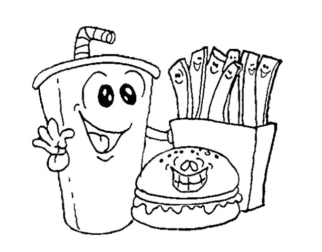 640x501 Fast Food Burger With Drink Coloring Page Kids Coloring Pages
