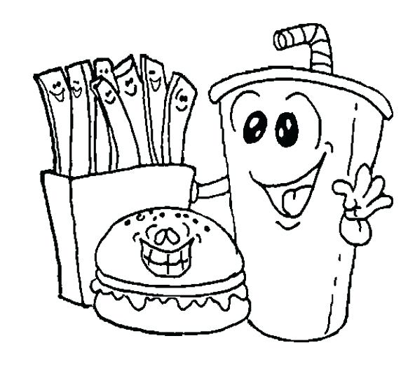 592x536 Coloring Pages Food Meal Food Coloring Fast Pages Breakfast Page