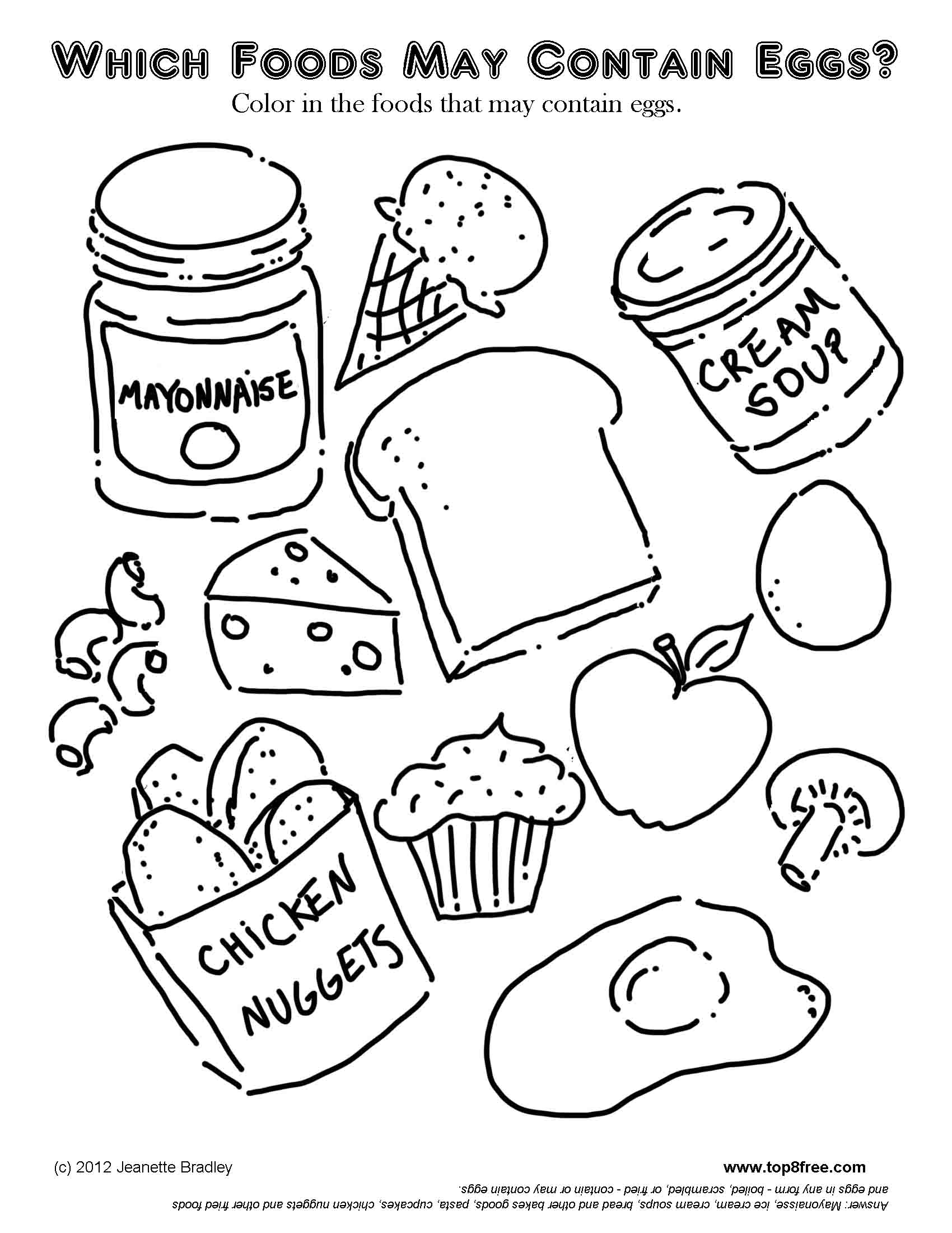1700x2200 Startling Food Coloring Pages Egg Foods Page