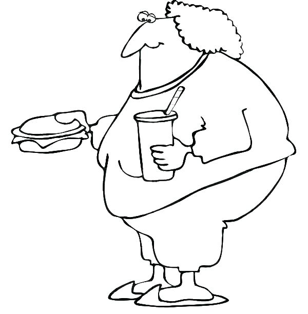 600x612 Food Web Coloring Pages Fat Boy Eating Fast Food Coloring Pages